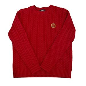 Ralph Lauren cable knit sweater embroidered crest